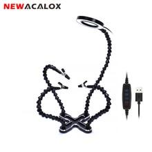 Newacalox lâmpada de lupa de lentes led, 3x, diy, solda terceira mão, 4 peças, flexível, para soldagem, suporte para reparo ferramenta,