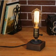 Lámpara de escritorio Loft, Bombilla Edison de madera, estilo retro de la industria americana, lámpara de mesa de madera, bar, luz nocturna creativa CL072317
