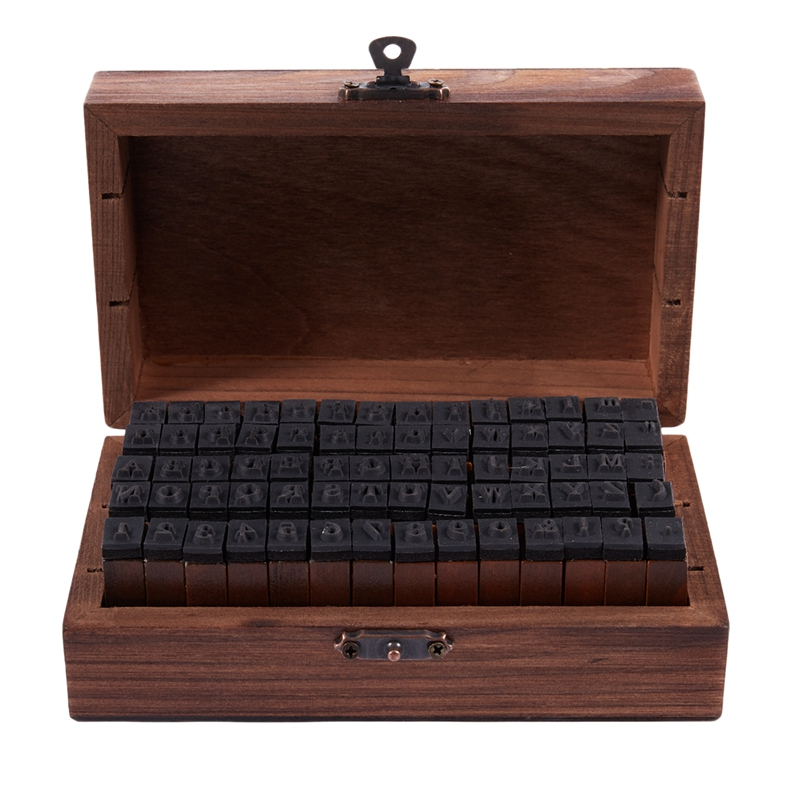FashionRubber Stamp Alphabet Number Symbol Wooden Box Set Print Style Wood Letter 70PCS