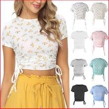 Women Summer Y2K Short Sleeve O-neck Slim Crop Top Floral Print Casual Drawstring Navel T-Shirt Female Sexy Streetwear Tee Shirt