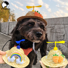 Pet Dog Straw Hat Accessories Hat Small and Medium-Sized Dog Puppy Outdoor Small Windmill Woven Hat Pet Dress Up Straw Hat