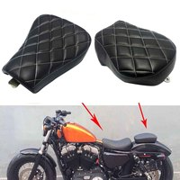 Front Driver Solo Seat + Rear Passenger Pad For Harley Sportster XL1200 883 48 2007 2008 2009 2010 2011 2012 2013 2014 2015