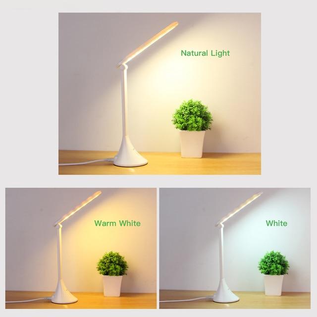 LED Touch Table Lamp Foldable USB Powered 3 Dimming Desk Lamp LED Eye Protection Reading Light Student Working Desk Light Lampe Home Decor & Toys