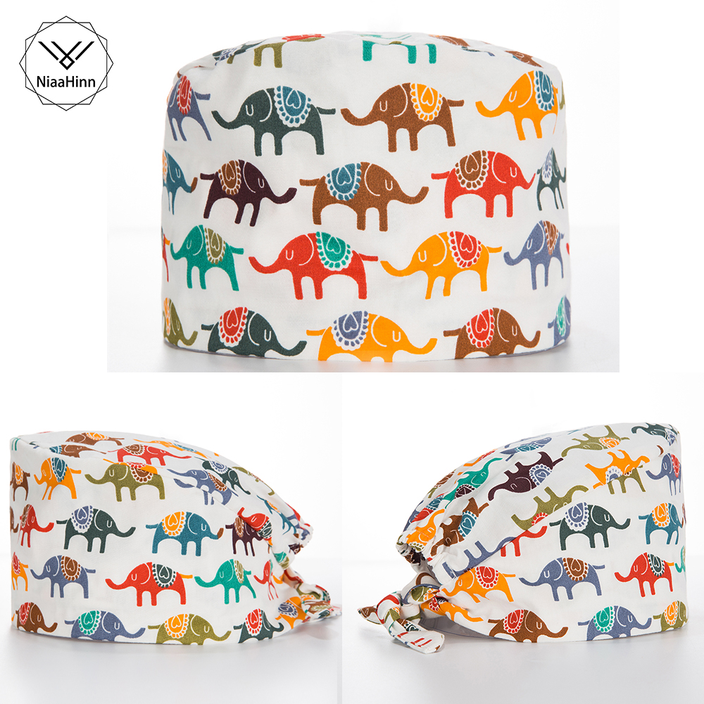 New Printed Cap Operating Room Hats Doctors Nurses Unisex Medical Surgical Beauty Caps Dentist Pet Pharmacy Elastic Scrub Caps