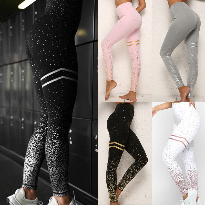 Women High Waist   Leggings   Hot Stamping Gold Glitter Workout Butt Lift Trouser Lady Athletic Fitness Sport Dotted Slim Long Pants
