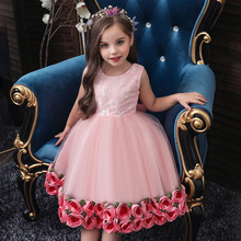 Baby Girls Tutu Flower Cake Dress Up Kids Princess Dress for Girls Elegant Birthday Party Dress Baby Girl Christmas Clothes