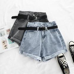 2021 coreano verão calças de brim femininas shorts cintura alta solta harajuku zíper senhora curto plus size n0012