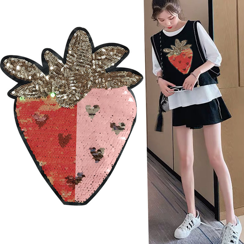 2019 Cute Strawberry Sequin Pattern Large Patch For Sweaters Knitwear Embroidered Coats