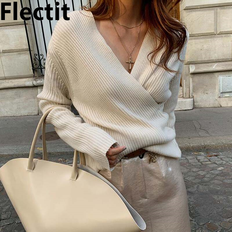 Flectit V-Neck Wrap Sweater For Women Elegant Fitted Long Sleeve Pullovers Autumn Winter Knit Tops Casual Outfit *