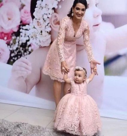 Elegant Pink Lace Baby Kid Dresses Flower Girls Pink Dress  Mother Daughter Pink Lace  Birthday  Dress Pageant Pink Lace Dresses