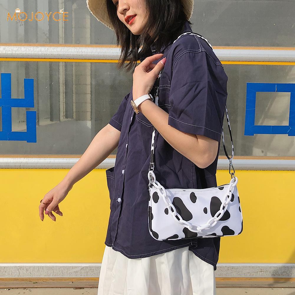 Oxford Shoulder Sling Handbags Women Cow Spot Zipper Female Travel Clutch Pouch For Outdoor Shopping Traveling Ornaments