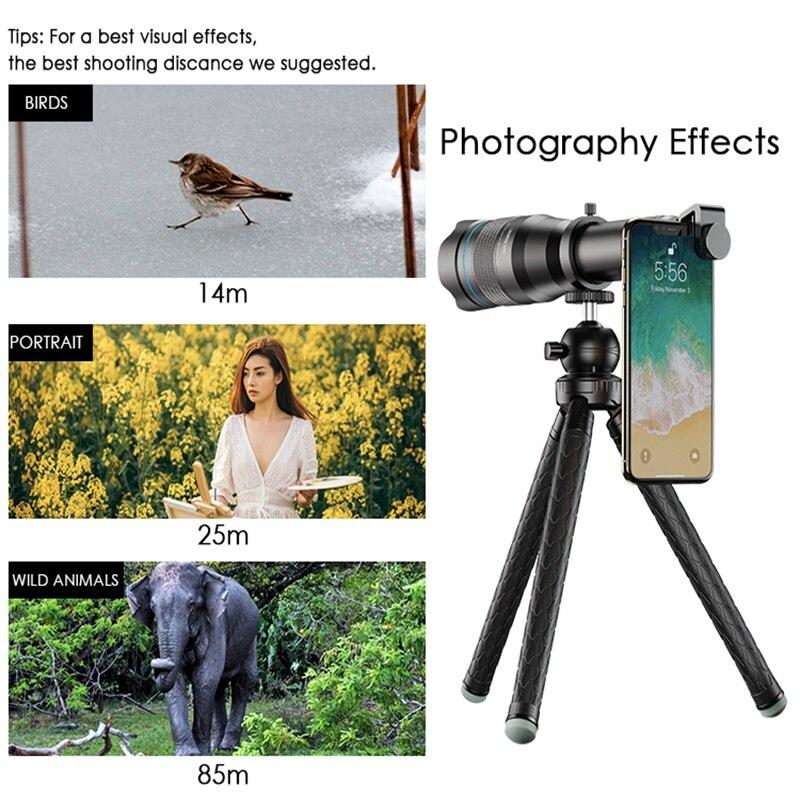 APEXEL HD 60X metallo Telescopio Del Telefono Dell'obiettivo Obiettivo di Macchina Fotografica Super Teleobiettivo Monoculare + Allungabile Treppiede Per iPhone Huawei tutti gli smartphone - 5