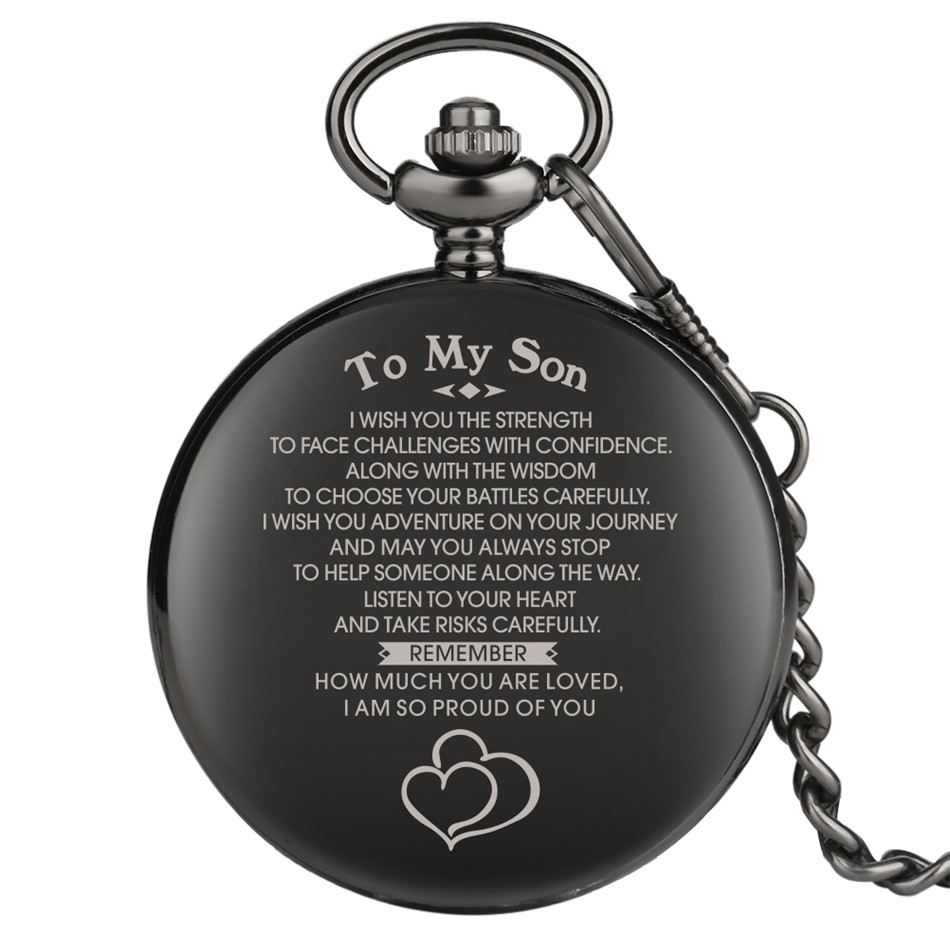 To My Son Design Custom Quartz Pocket Watch Punk Smooth Black Hunter Collection Pendant Clock Birthday Gifts