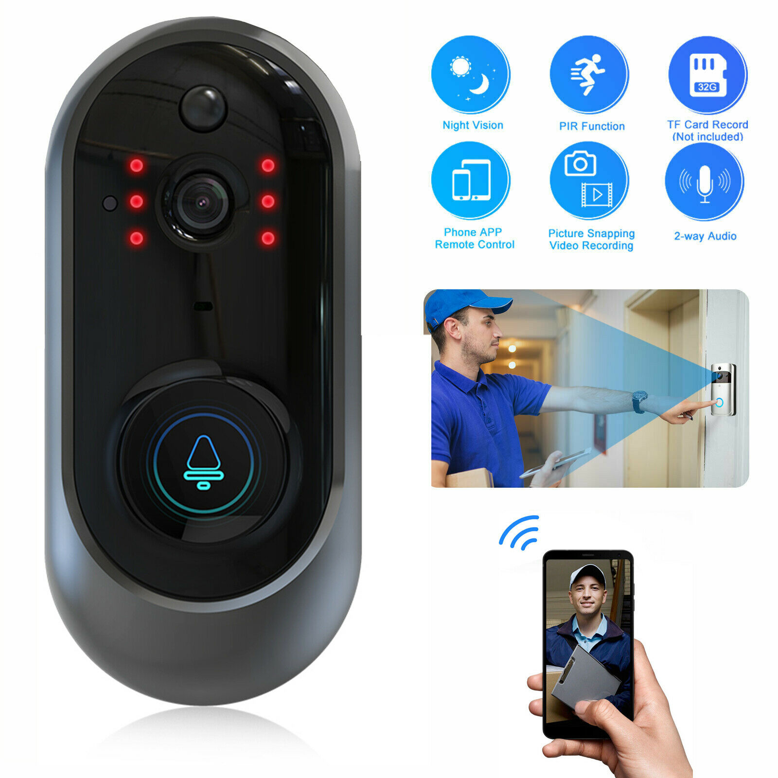 Wifi Doorbell Camera Smart IP Video Intercom  Video Door Phone Door Bell  For Apartments IR  Alarm Wireless Security Camera