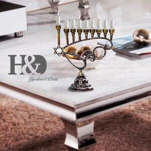 Image 4 - H&D Handmade Hanukkah 9 Branch Hexagonal Star of David Candle Holder Menorah Jewish Lamp Chanukah Candlesticks Party Decoration