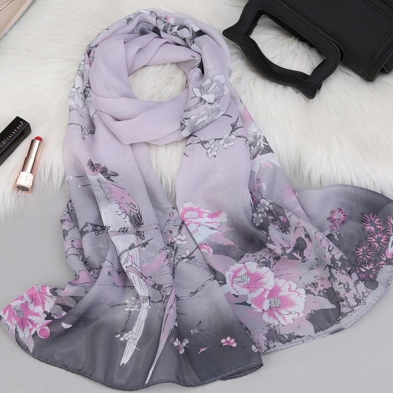 2020 Fashion Kerchief Silk Satin Neck Scarf For Women Print Hijab Scarfs Female 150*50cm Shawls And Wraps Scarves For Lady
