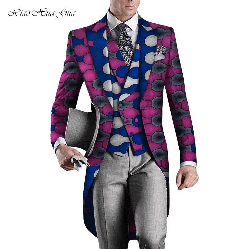 2019 Party Wedding African Clothes Mens Printed Long Blazer Men Jacket Vest 2 Pieces Fashion Slim Suits Dashiki Blazer WYN960