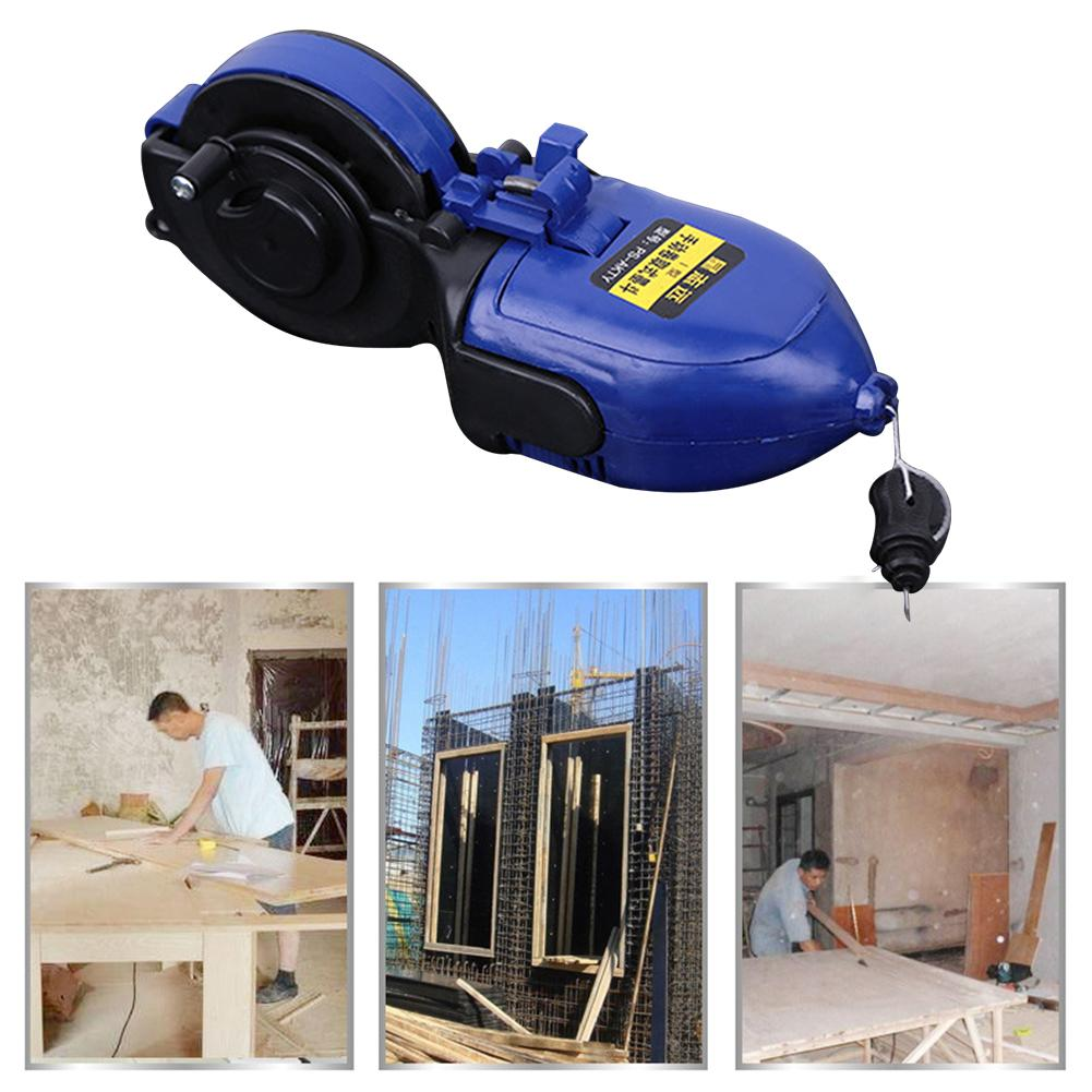 Woodworking Construction Tool Automatic/Manual Ink Marker Fountain Duct Chalk Line 30M Nylon Wire Ink Scribes Measuring Tools