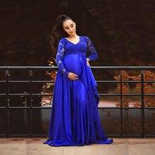 Robe de maternité pour bébé, col en v, manches longues, mousseline de soie, dentelle, robe Maxi, femmes enceintes, vêtements accessoires de photographie