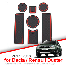 ZUNDUO Anti Slip Gate Slot Cup Mat for Renault Duster for Dacia 2012  2018 Accessories Car Door Pad Non Slip Rubber Coaster Mats