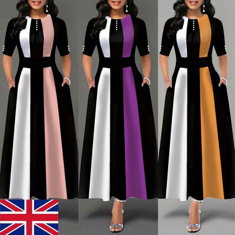Plus Size Womens Vintage Swing Long Dress Ladies Half Sleeve Evening Party Skater Ladies Elegant Maxi Dresses UK