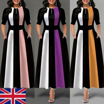 Plus Size Womens Vintage Swing Long Dress Ladies Half Sleeve Evening Party Skater Ladies Elegant Maxi Dresses UK bowknot plus size empire waist skater dress