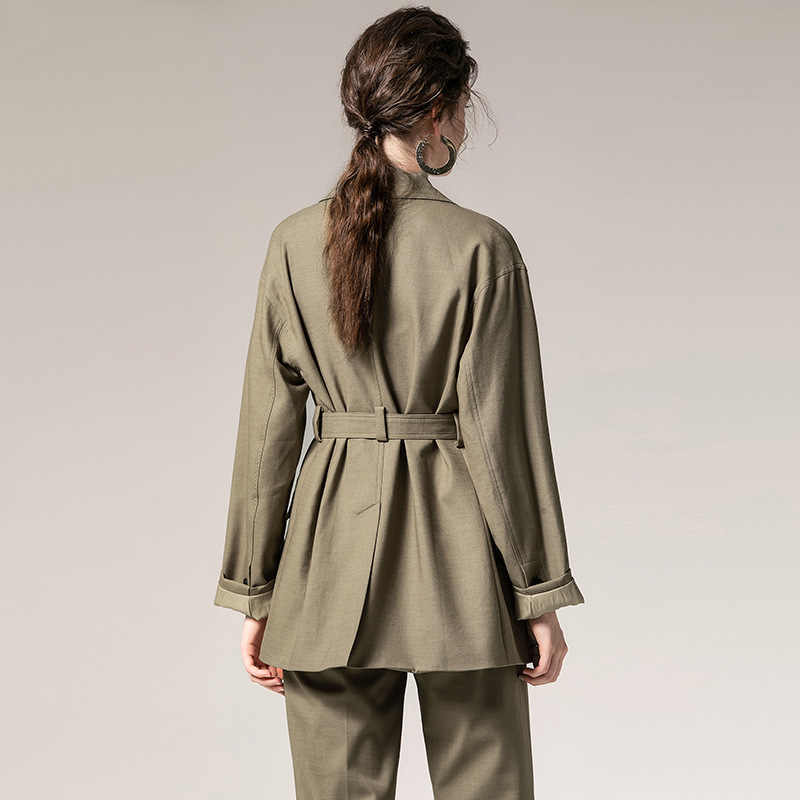 2019 Fashion Two Piece Set Women Blazer Jacket Coat with Belt and Pants Solid Autumn 2 Pieces Sets OL Pants Suits Female