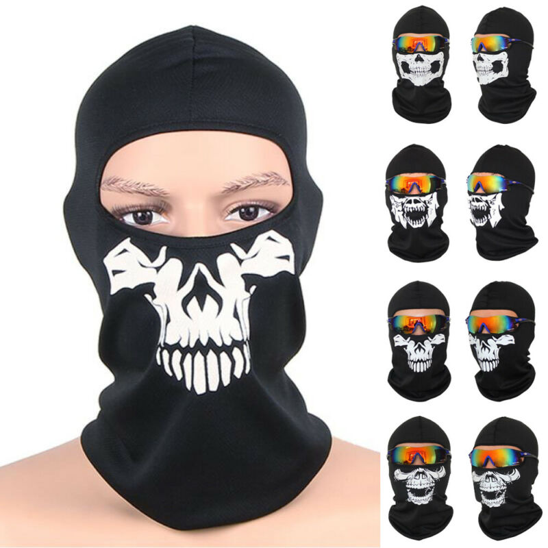 Breathable Tactical Mask Full Face Mask Scarf Neck Warmer Motorcycle Bicycle Cycling Hunting CS Mask Hood Black Skull Balaclava