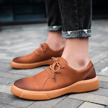 Men Casual Shoes 2019 Fashion Black Brown Genuine Leather Men Loafers Moccasins Lace-up Flats Loafers Male Shoes Size 38-47