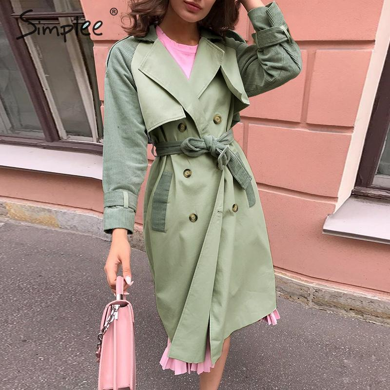 Simplee Elegant patchwork women   trench   coat Sash belt corduroy cotton female   trenches   Buttons pocket autumn winter long overcoat