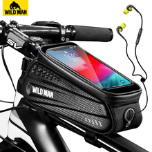 WILD MAN Rainproof Bicycle Bag Frame Front Top Tube Cycling Bag Reflective 6 5in Phone Case Touchscreen Bag MTB Bike Accessories cheap NEWBOLER Polyster With Lid Bycicle Bag 014 Black Red About 150g 180*105*83 mm EVA+PU leather Hard Shell Waterproof Rainproof