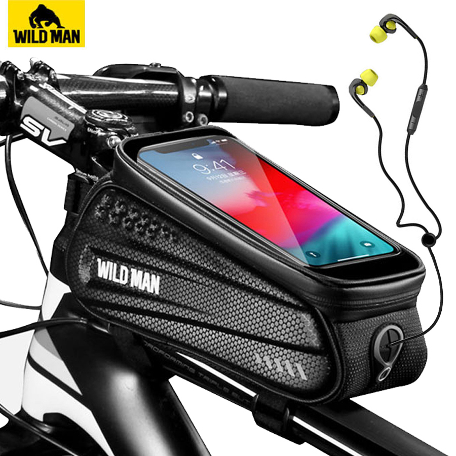 WILD-MAN-Rainproof-Bicycle-Bag-Frame-Front-Top-Tube-Cycling-Bag-Reflective-6-5in-Phone-Case