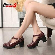 Cuculus escarpins en cuir pour femmes, chaussures noires à talons hauts épais, pointues, chaussures simples, 34 41, 2020