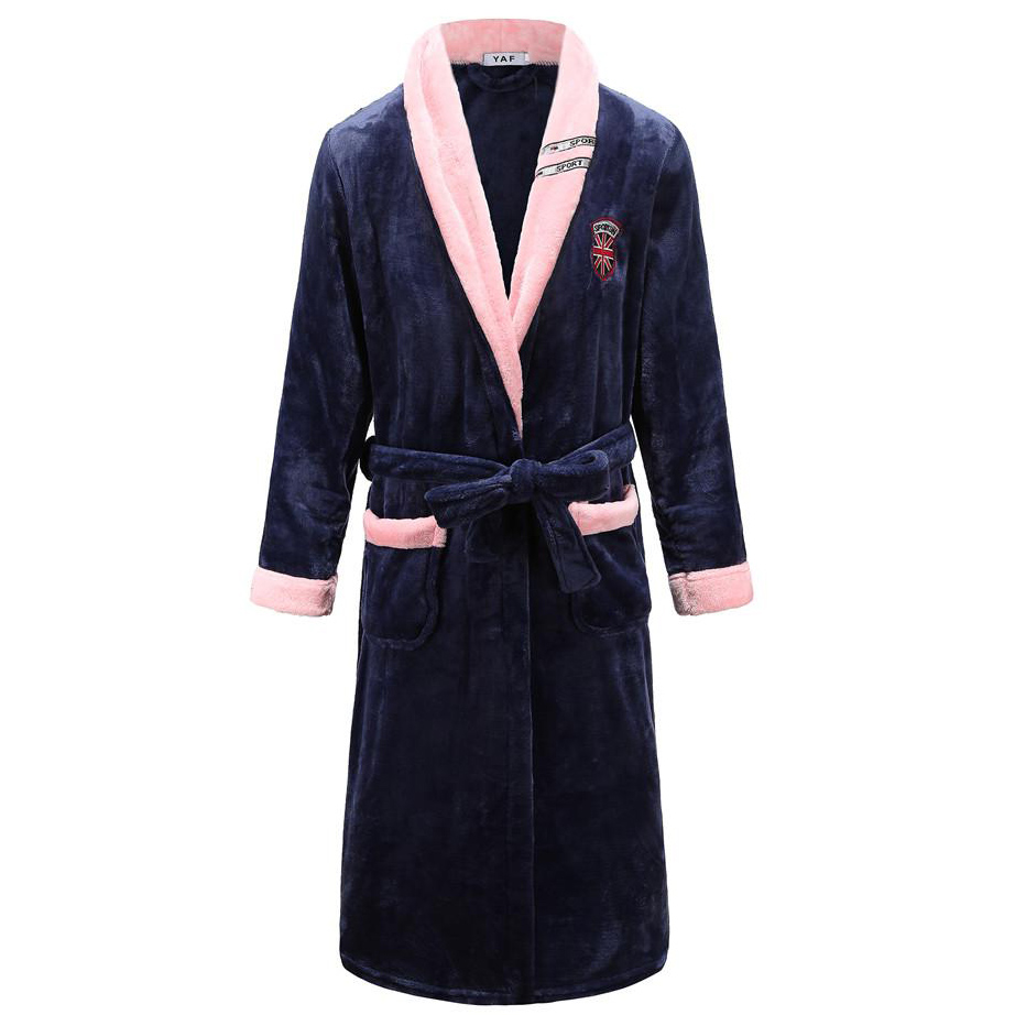Large Size 3XL For Men&women Home Clothing Solid Colour Kimono Bathrobe Gown Coral Fleece Home Dressing Gown V-neck Sleepwear