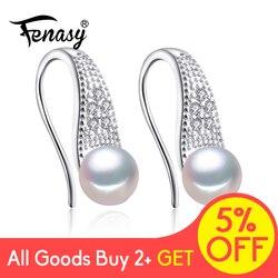 FENASY Perle Schmuck 925 Sterling Silber Zirkonia CZ Klassische Süßwasser Perlen Stud Ohrringe Für Frauen Geburtstag Idee Geschenk