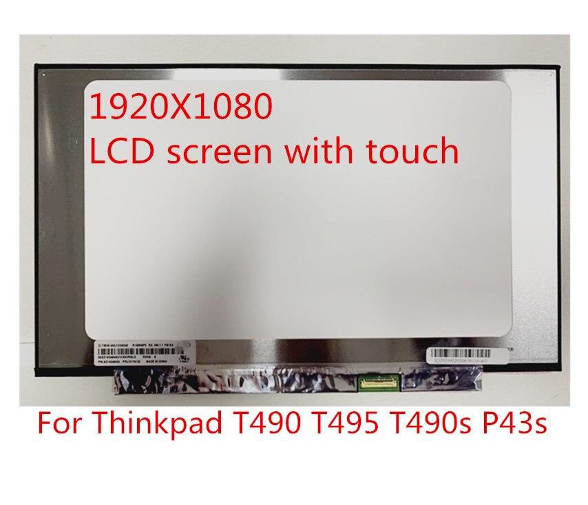 Novo portátil original para lenovo thinkpad t490 t495 t490s p43s tela lcd fhd ips toque 01yn152 01yn151 01yn150 02hl713
