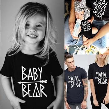 цена на Family T-Shirts Papa Bear Mama Bear Baby Bear Letter Print T-shirt Parent-child Short Sleeve T-shirts Family Matching Sets Tops
