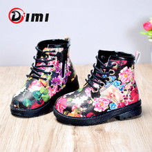 DIMI 2020 Autumn Girls Boots PU Leather Waterproof Kid Baby Boots Shoes Fashion Flower Zip Rome Little Girl Martin Boots