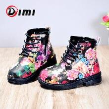 DIMI – bottes Martin en cuir PU pour fille, chaussures imperméables, à la mode, motif floral, fermeture éclair, Rome, collection automne 2021