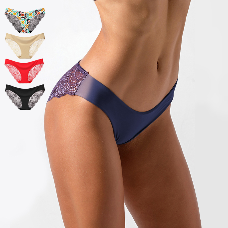 Women's Sexy Lace Panties Seamless Cotton Crotch Breathable Ladies Low-Rise Lingerie Underwear Comfortable Underpants Brief