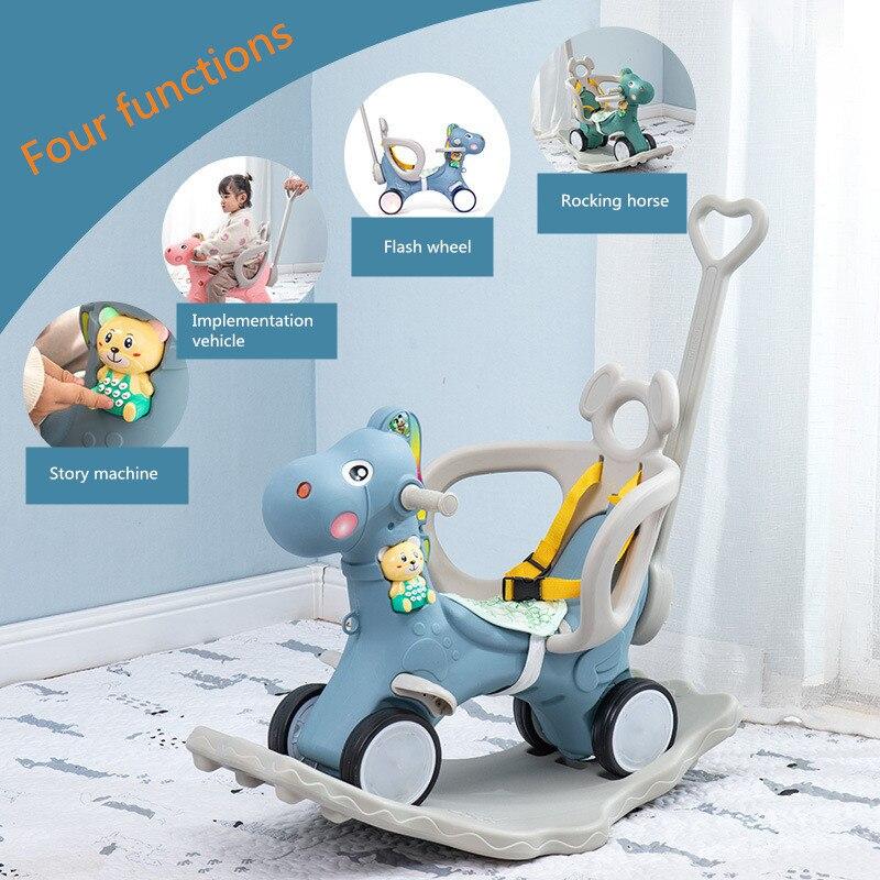 Children's Music Rocking Horse Plastic Rocking Horse Cart Baby Multifunctional Rocking Chair Trojan Toy