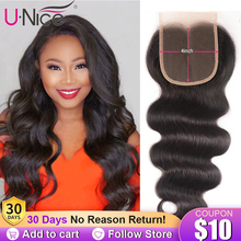 """UNice Hair Brazilian Body Wave Lace Closure Swiss Lace Middle &Free &Three Part Remy Human Hair Lace Closure 1 Piece 10"""" 20"""""""