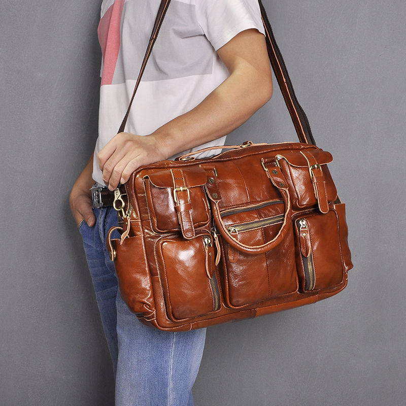 H2c03447c86624b088b9e08e4de040e1aX Original leather Men Fashion Handbag Business Briefcase Commercia Document Laptop Case Design Male Attache Portfolio Bag 3061-bu