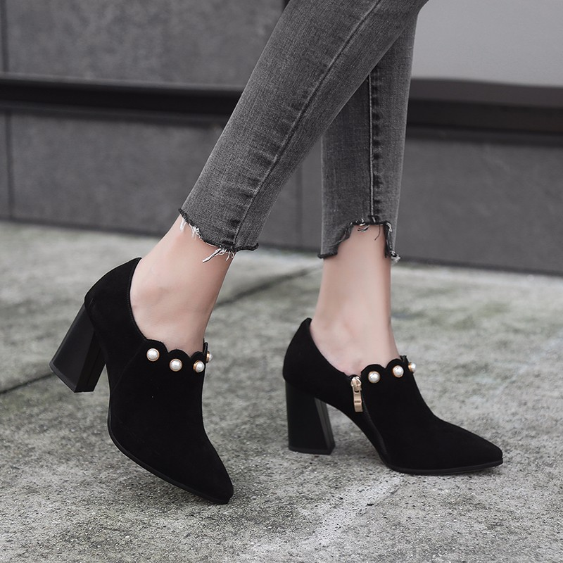 2018 Autumn New Style Korean-style Versatile Pointed-Toe GIRL'S High Heel Shoes Chunky-Heel WOMEN'S Shoes Professional Black And