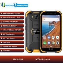 Ulefone armadura x6 android 9.0 telefone móvel duplo sim 5.0 polegada rosto desbloquear smartphone 4000mah bateria ip68 impermeável 3g celular