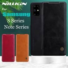 Флип-чехол Nillkin из натуральной кожи для Samsung Galaxy Note 20 Ultra S21 Plus S20 FE A72 A52 A42 A32 A51 A71 Note 10 9 8