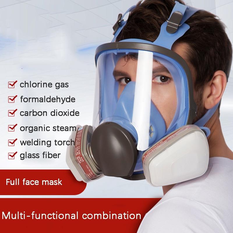Masque à gaz 7 en 1 utilisation complète pour le travail de la peinture en aérosol chimique gaz organique/acide et autre respirateur de protection contre les gaz toxiques