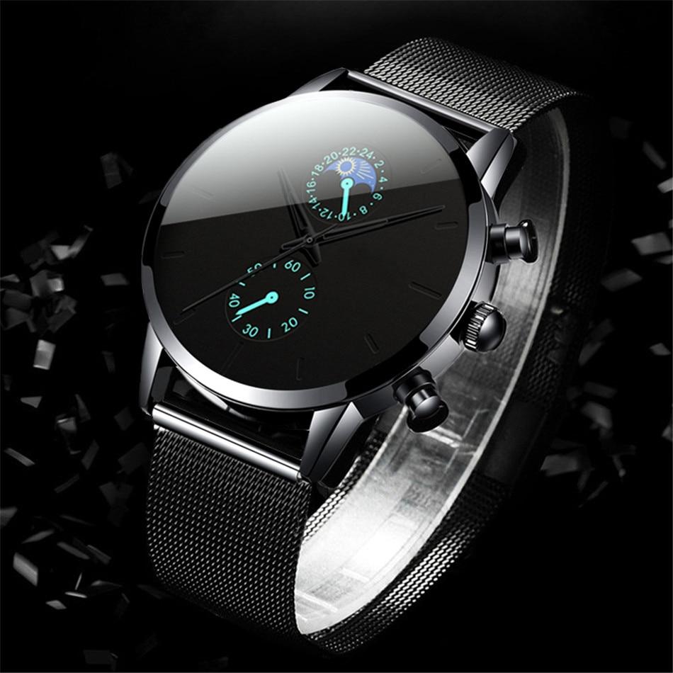 H2c03cd20fd354a3780f18762b70fa4429 Fashion Mens Business Black Watches Luxury Stainless Steel leather Belt Watch Quartz Men Wrist Watch Relojes Hombre