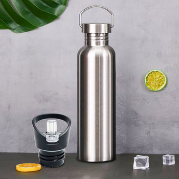 Stainless Steel Sports Water Bottle with Drinking Straw lids Cap Vacuum Flask Single Wall Hot Cold Water Bottle 500/750/1000ml 4