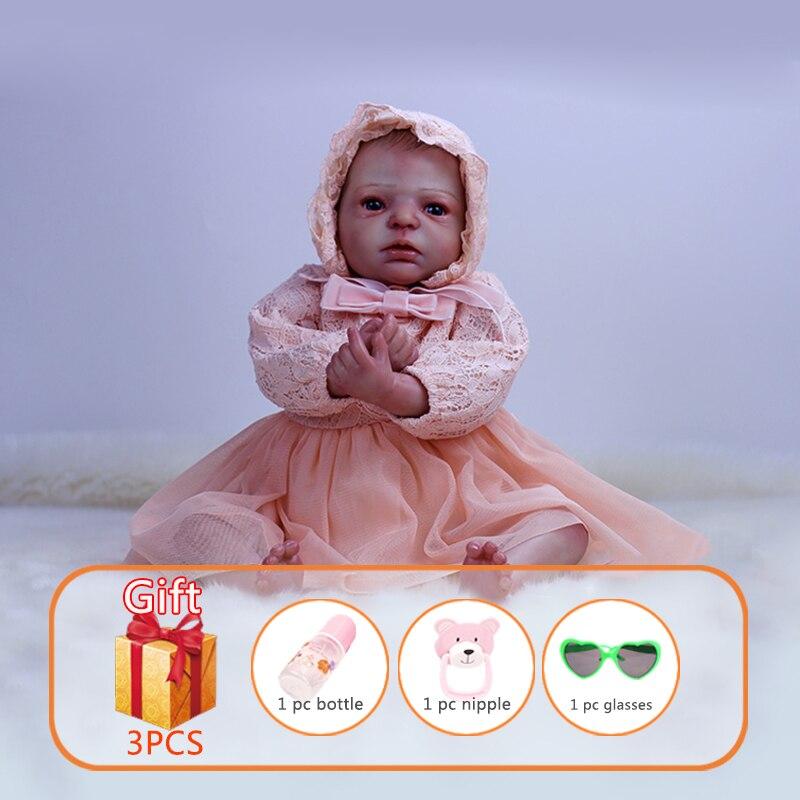 Кукла Reborn, 22 дюйма, мягкая резиновая, имитация, ручная работа